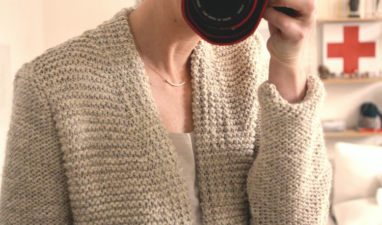 modele tricot gilet point mousse